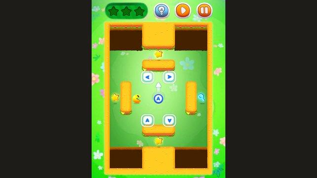 Sobald Pac-Man startet, läuft er unbeirrt weiter.