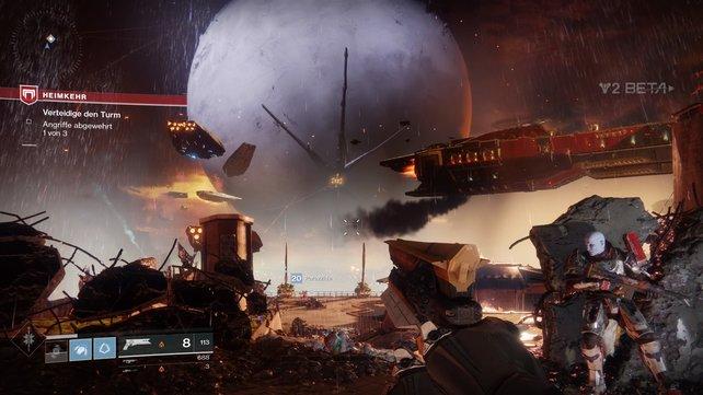 Die Story-Mission am Anfang der Beta trumpft mit spektakulärer Inszenierung auf. Bitte mehr davon!