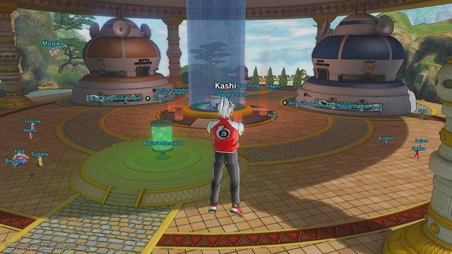 Das ist der Empfangsbereich in Dragon Ball Xenoverse 2. Rechts startet ihr PQs, links normale Kämpfe.