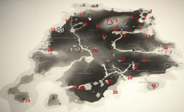Auf dieser Karte zeigen wir euch die Fundorte aller 30 Sakai-Banner auf der Insel Iki.