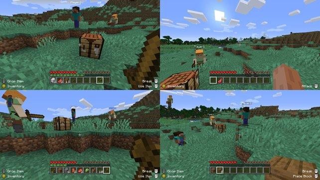 Über den Splitscreen-Modus in Minecraft können bis zu vier Freunden gleichzeitig spielen