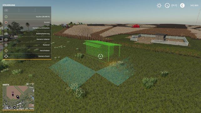 Euren Bauernhof erweitert ihr um frei platzierbare Gebäude, sofern der Platz ausreicht.