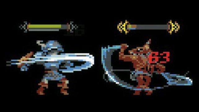 Der Held und ein Goblin aus Loop Hero holen gleichzeitig zum Schlag aus (Bild: Loop Hero | Devolver Digital & Four Quarters)