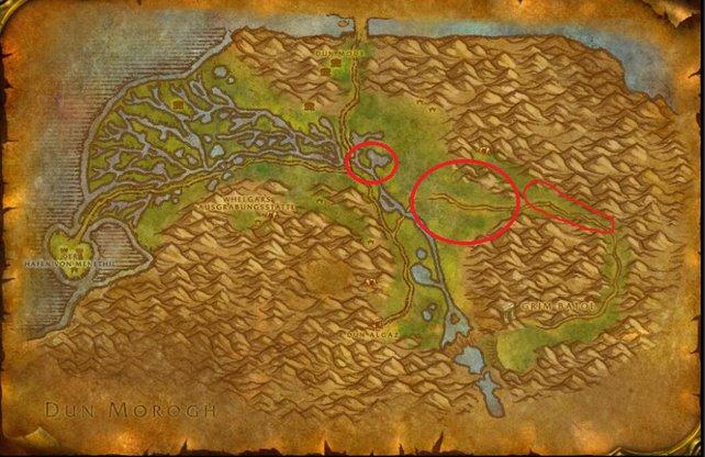 Die rot eingekreisten Gebiete, sind die Orte, an welchen ihr Axtroz antreffen könnt.