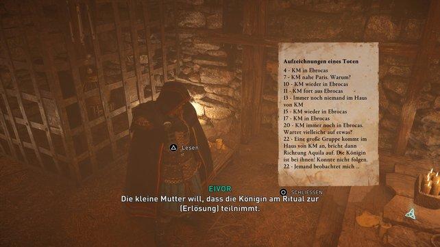 """Im Haus der """"kleinen Mutter"""" findet ihr abgesehen von einem Gefangenen noch wertvolle Schriftstücke."""