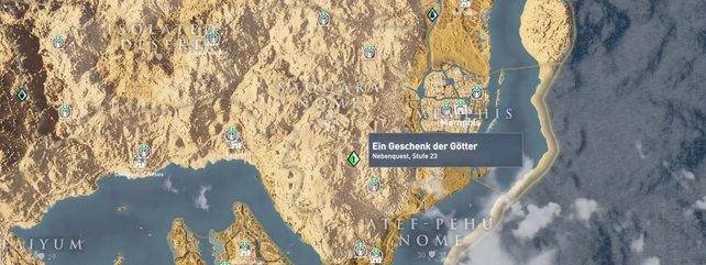 Der Standort der Quest auf der Karte.