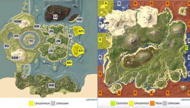 Wollt ihr die Steinchen von den Eurypteriden farmen, dann sucht an diesen Stellen (Insel und Center).