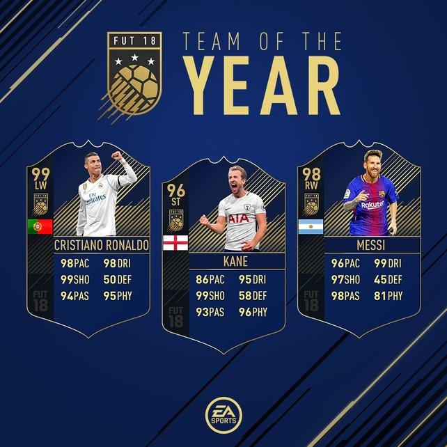 Ronaldo, Kane und Messi: Dieses Stürmer-Trio hat es in das TOTY 2018 geschafft!