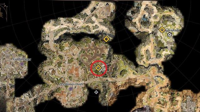 Begebt euch zum gelben Quadrat auf der Karte (innerhalb der roten Kreismarkierung).