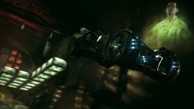 Die Rätsel des Riddlers werden diesmal mithilfe des Batmobils gelöst.