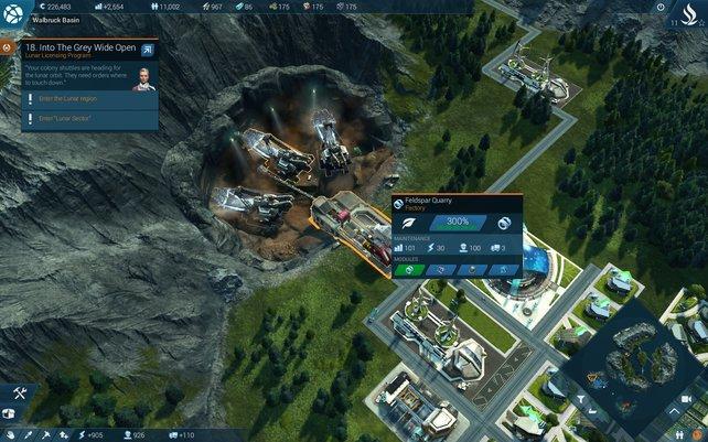 Mit zwei zusätzlichen Baggern leistet eure Mine gleich dreimal so viel wie normal. Die Zusatz-Bagger kosten aber ordentlich Ressourcen.
