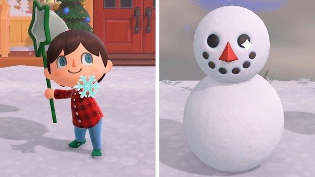 Schneeflocken und Schneemänner sorgen für winterlichen Spaß in Animal Crossing: New Horizons.