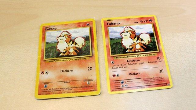 Hier zum Vergleich: links die Originalkarte und rechts die Neuauflage aus XY-Evolution.