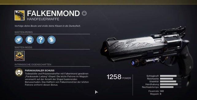 """Sehr beliebt in Destiny 1, jetzt zurück in Destiny 2: Die Exo-Handfeuerwaffe """"Falkenmond""""."""