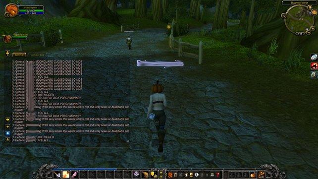 """In diesem Screenshot aus einem """"World of Warcraft""""-Chatverlauf könnt ihr erkennen, dass ein Spieler etwa zehn Mal den gleichen Satz in Großbuchstaben schreibt. Sowas gilt schon als Spam. Hinzu kommen rassistische Beleidigungen. Das wäre zum Beispiel ein Grund für eine Stumm-Schaltung."""