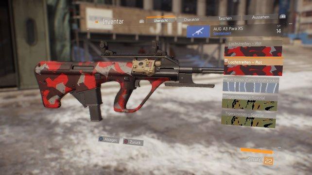 """Der Waffen-Skin """"Lochstreifen - Rot"""" ist besonders hübsch."""