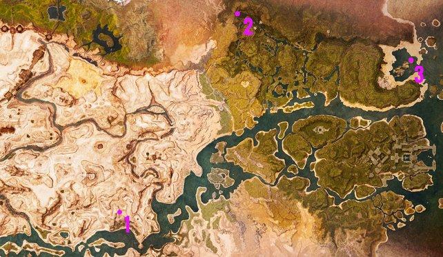 Die Geißelstein-Fragmente sind an drei verschiedenen Orten im Land der Verbannten.