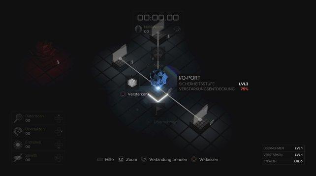 Die blaue Kugel bestimmt euren Startpunkt beim Hacken. Von hier aus bewegt ihr euch zum Ziel.