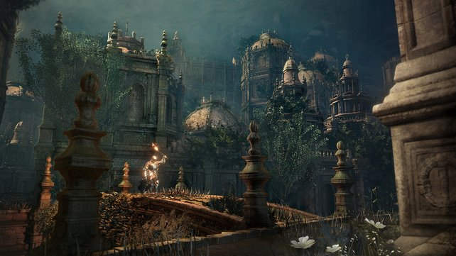 Wieder besucht ihr verschachtelte Burgkomplexe, die sich in die Höhe erstrecken.