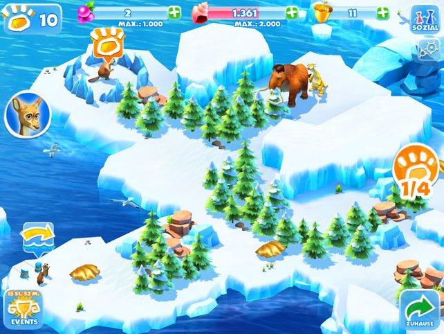 Auf benachbarten Eisinseln sucht ihr nach Tieren und absolviert Simpelspiele.