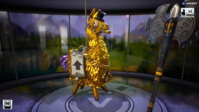 Ihr müsst V-Bucks farmen und viele Lamas zerschmettern, bevor ihr eine goldene Piñata bekommt.