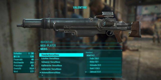 Das Zurecksetzen auf die niedrigsten Modifikationen kostet zwar auch Komponenten, ermöglicht euch aber die kostenlose Nutzung einer hochstufigen Mod bei einer anderen Waffe desselben Typs