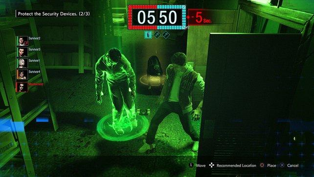 Bei ausgeschaltetem Licht sehen die Spieler wenig, das Mastermind hat dafür eine Nachtsichtkamera.