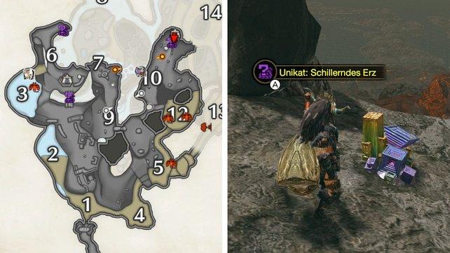 Die violetten Symbole auf der Karte zeigen euch, wo ihr nach den Bismut-Prismen suchen müsst.