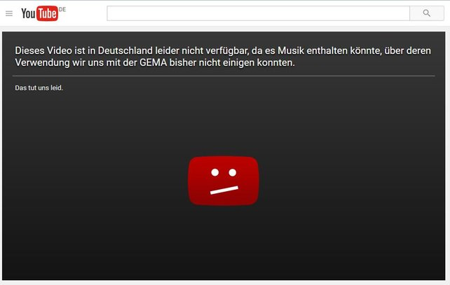 """Auf Youtube sind viele der erfolgreichsten Musikvideos in Deutschland gesperrt. Wer etwa """"Gangnam Style"""" von Psy ansehen möchte, bekommt zunächst nur diese Meldung zu Gesicht."""