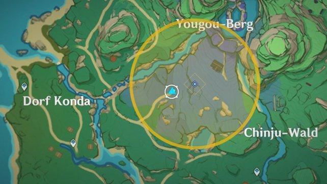 Die Karte zeigt euch den Fundort des verlassenen Schreins.