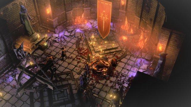 Die Kämpfe sind brutal: Nach dem Sieg ist das Schlachtfeld voller Blut.