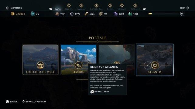 Über die Kartenübersicht könnt ihr nach Abschluss des Atlantis DLCs jederzeit die göttlichen Welten wieder betreten.