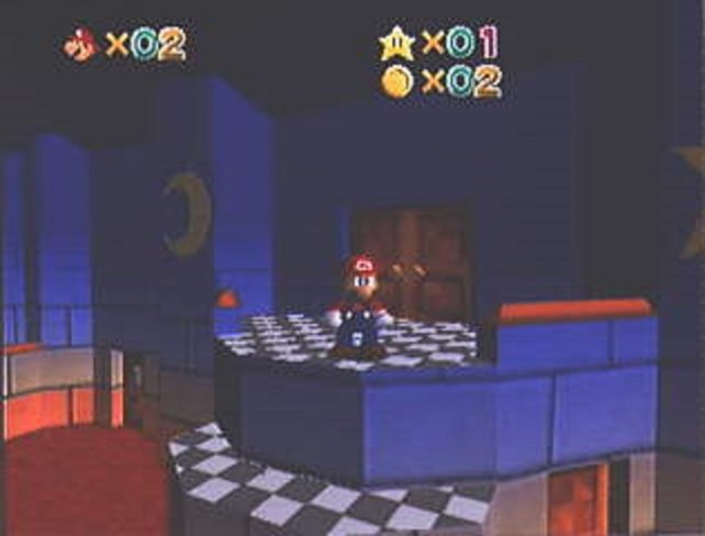 Die ersten Bilder von Super Mario 64 muten noch trist an. Aber es ist ja noch ein Jahr hin, bis Miyamoto und sein Team das Spiel abliefern.