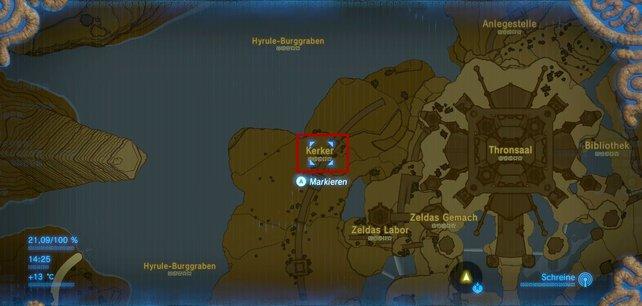 Die Karte zeigt euch, wo der Hylia-Schild versteckt ist.