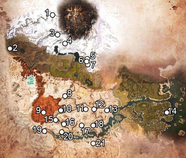 Alle Dungeons auf einer Karte kompakt zusammengefasst. Ihr braucht mehr Infos? Kein Problem …