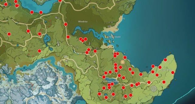 Die Karte zeigt euch einige Exquisitholz-Fundorte in Genshin Impact.