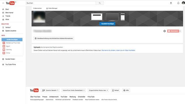 Der neu erstellte Kanal wartet auf Inhalte ...