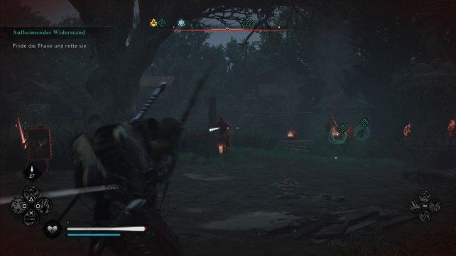 Um die Thane zu retten, müsst ihr die Soldaten besiegen. Passt dabei auf, dass sie nicht die Warnglocke läuten.
