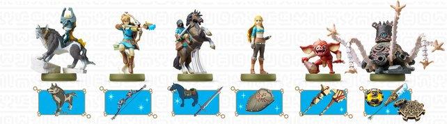 """Das Bild zeigt euch eine Auswahl der """"Zelda: BotW""""-Amiibo und ihre Belohnungen."""