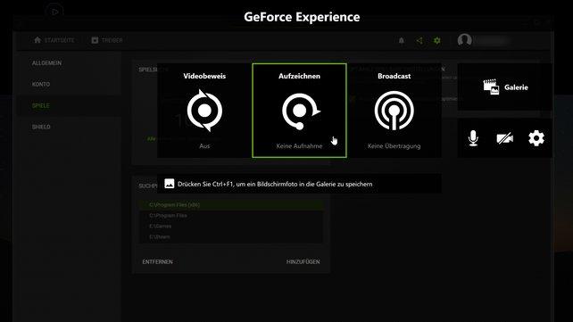 Mit Software der Grafikkarten-Hersteller lässt sich Spielmaterial aufnehmen. Im Bild: Geforce Experience.