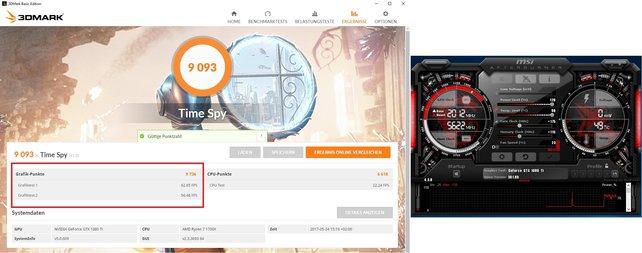Bild hier: Eine Geforce GTX 1080Ti bei 2 GHz. Die Karte liefert bis zu 9000 Punkte im 3D Mark und bleibt dabei auch noch kühl.