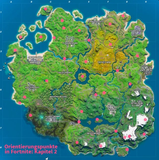 Alle Orientierungspunkte und E.G.O.-Außenposten auf der neuen Karte von Fortnite in Kapitel 2.