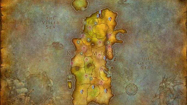 Alle Flugpunkte in Kalimdor. Die jeweiligen Fraktionen werden durch ihre entsprechenden Wappen repräsentiert. (Löwe - Allianz / Ruhne - Horde / Kombination - Neutral)