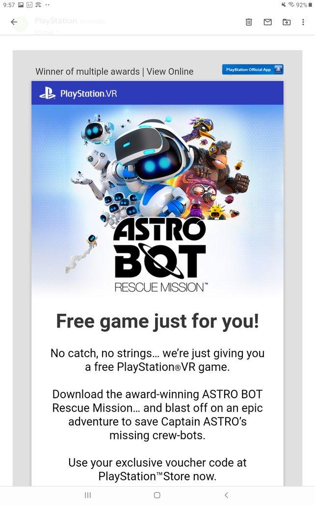 Die E-Mail von PlayStation mit kostenlosem Download-Code