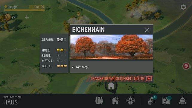 """Manche Gebiete könnt ihr noch nicht begehen, aber das Spiel gibt euch schon Tipps. """"Ihr braucht eine Transportmöglichkeit"""" - die in der Phase der Beta noch nicht gebaut werden kann."""