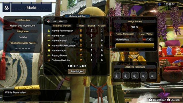 """Stellt im besten Fall 5 Talismane gleichzeitig her (Anzahl wird unter """"Mögliche Talismane"""" angezeigt), um Talismane schnell zu farmen."""