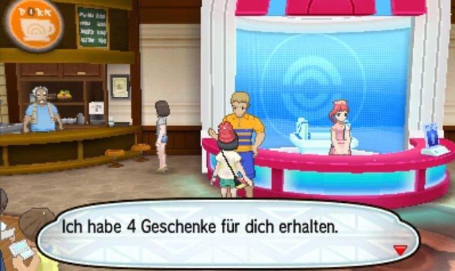 Der Lieferant taucht nur im Pokémon-Center auf, wenn er Geschenke für euch hat.