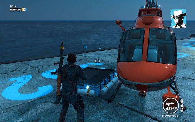 Praktisch: Diesen Helikopter könnt ihr euch direkt vor die Füße werfen lassen.