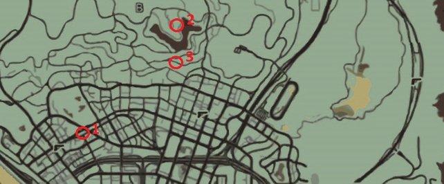 Auf der Map seht ihr die Fundorte der Autos.