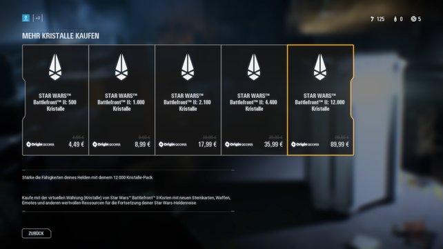 Die Preise für Kristalle und Kredits sind in SW: Battlefront 2 nicht gerade gering